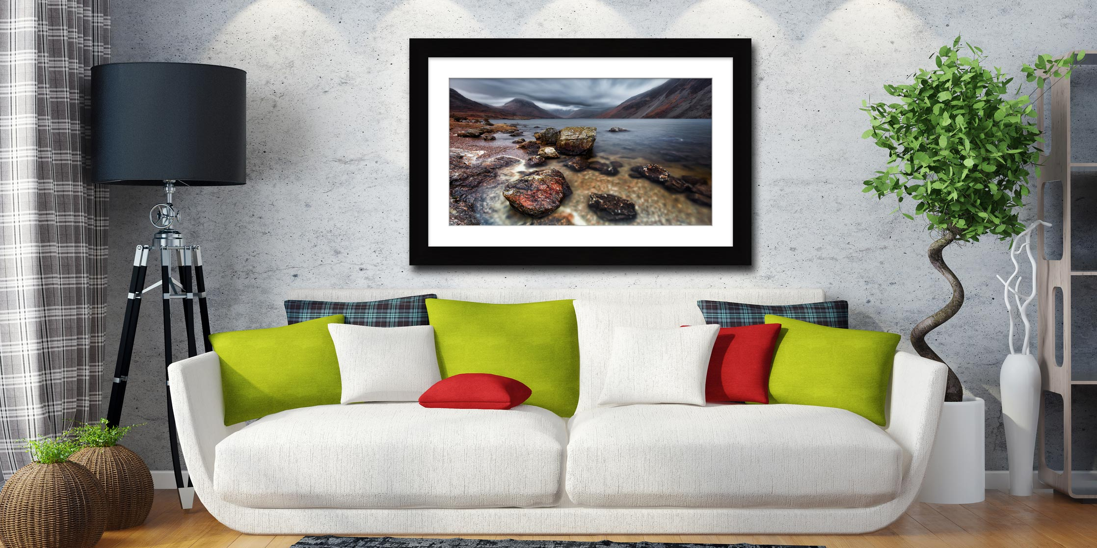 Wast Water Middle Earth - Framed Print with Mount on Wall