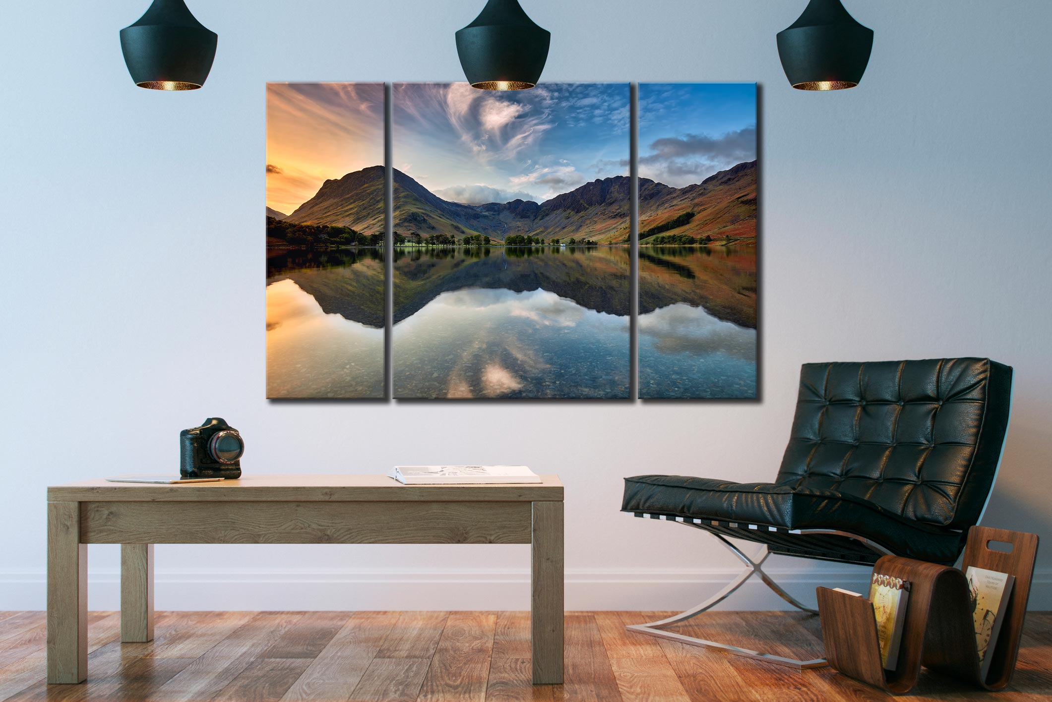 Breaking Dawn Buttermere  - A 3 panel wide centre canvas on Wall