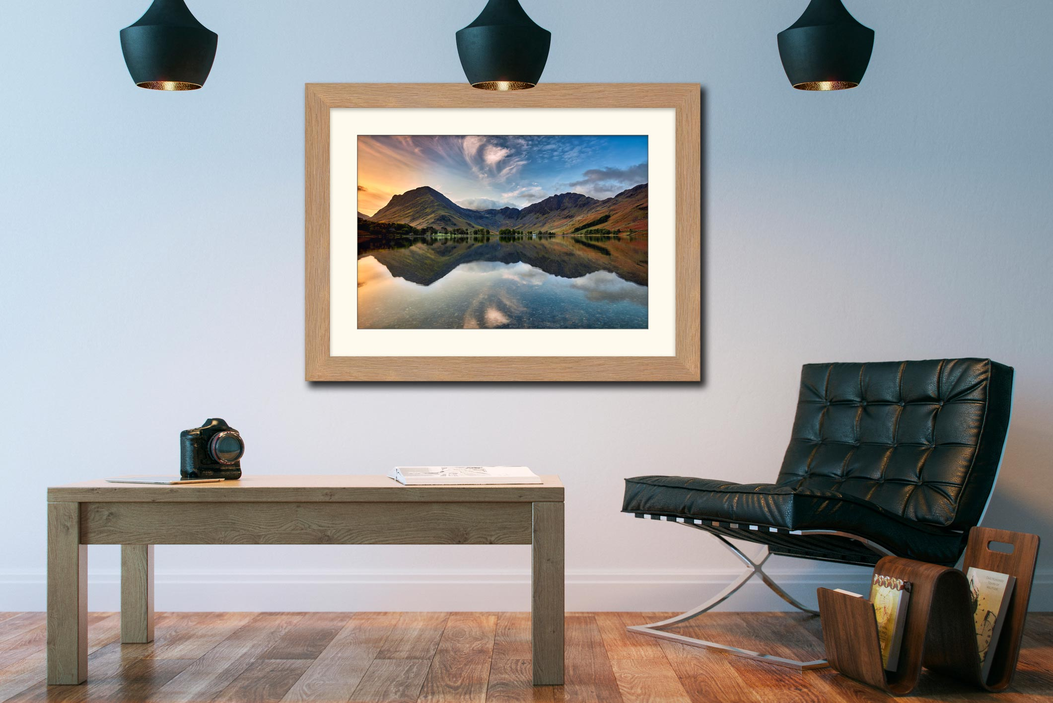 Breaking Dawn Buttermere – Framed Print with Mount on Wall