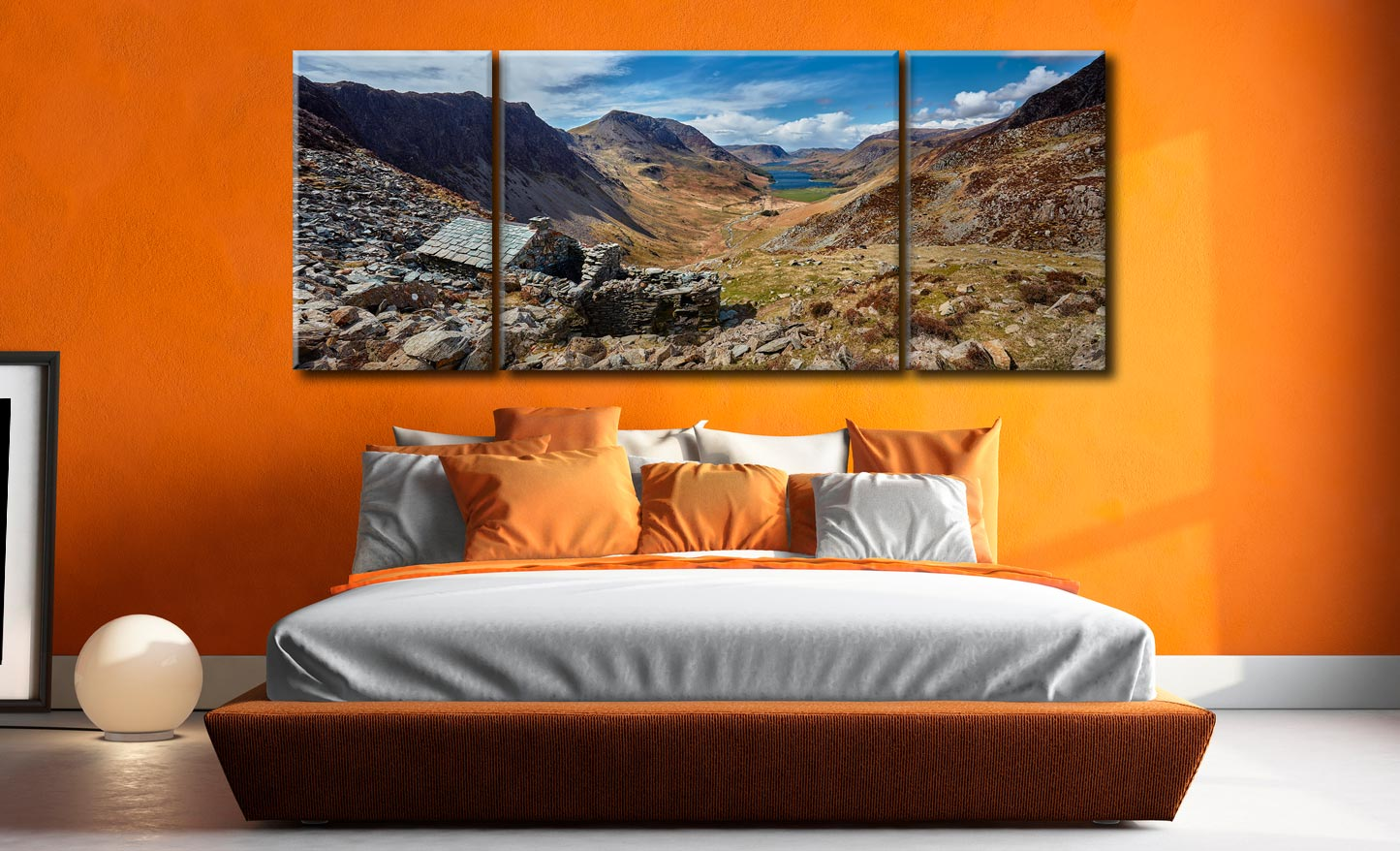 Warnscale Bothy and Buttermere Valley - 3 Panel Wide Mid Canvas on Wall