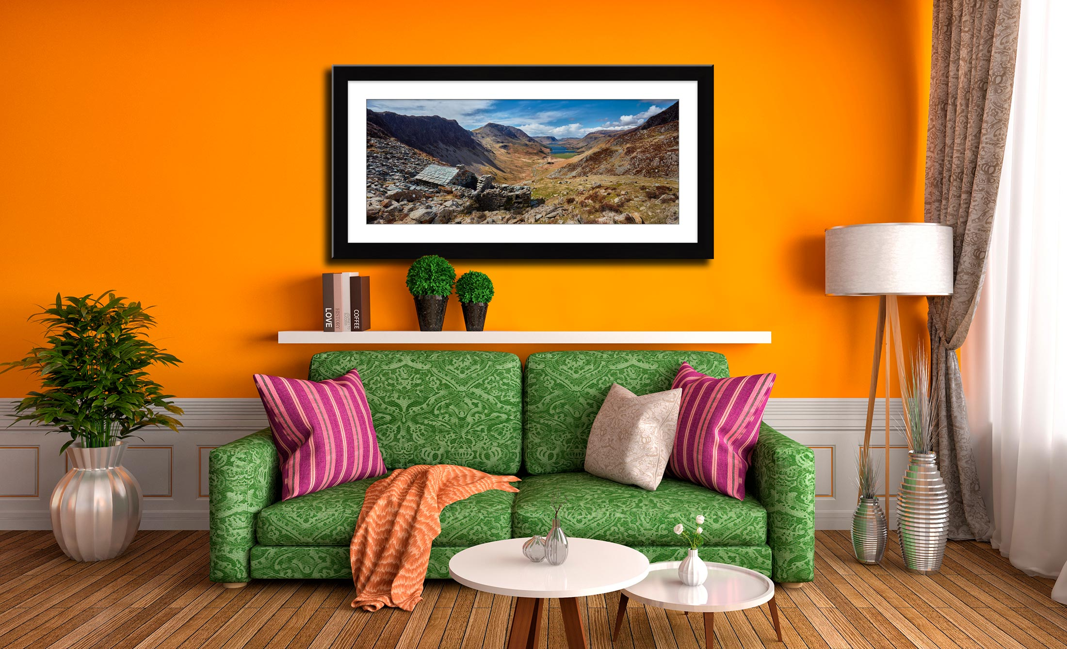 Warnscale Bothy and Buttermere Valley - Framed Print with Mount on Wall