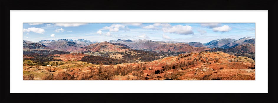 The Langdale Mountains - Framed Print with Mount