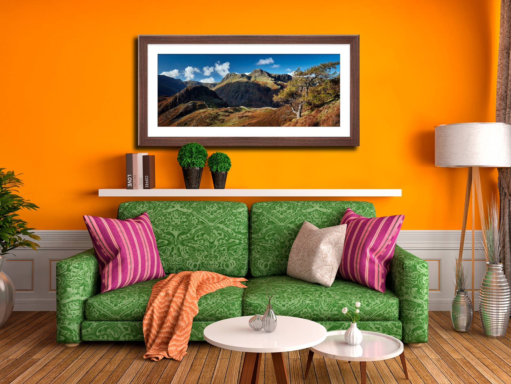 Langdales and Side Pike - Framed Print with Mount on Wall