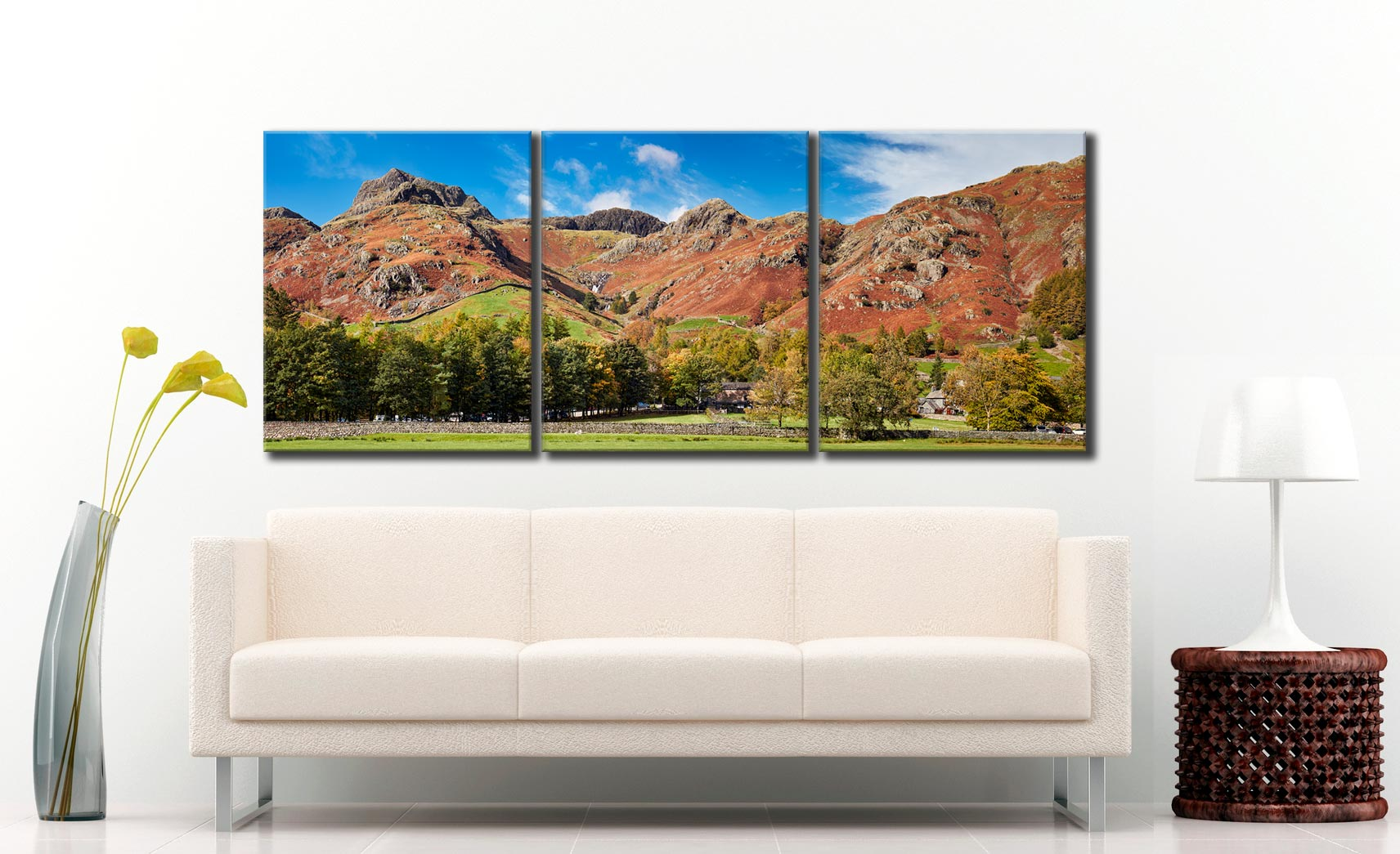 Dungeon Ghyll Panorama - 3 Panel Canvas on Wall
