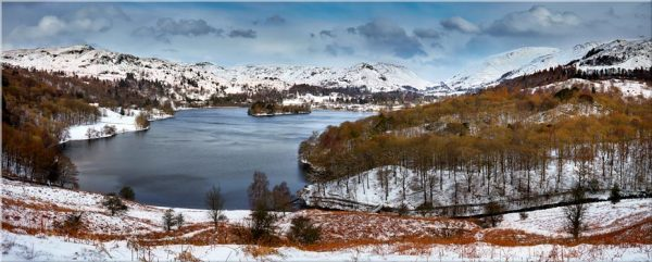 Grasmere Winter Panorama - Canvas Print