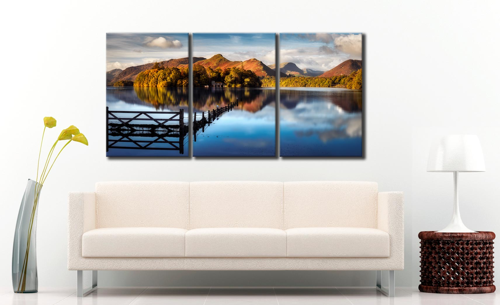 Darkness and Light on the Langdales - 3 Panel Canvas on Wall