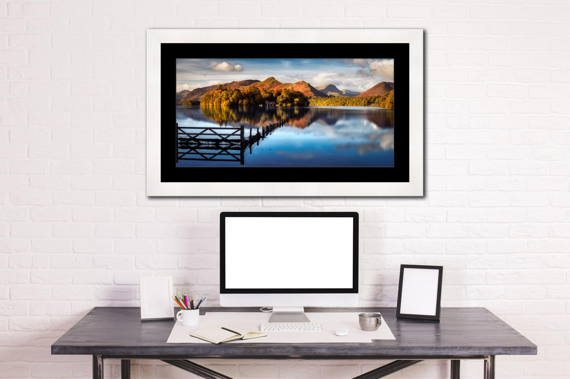 Cat Bells Red Dawn - Framed Print with Mount on Wall