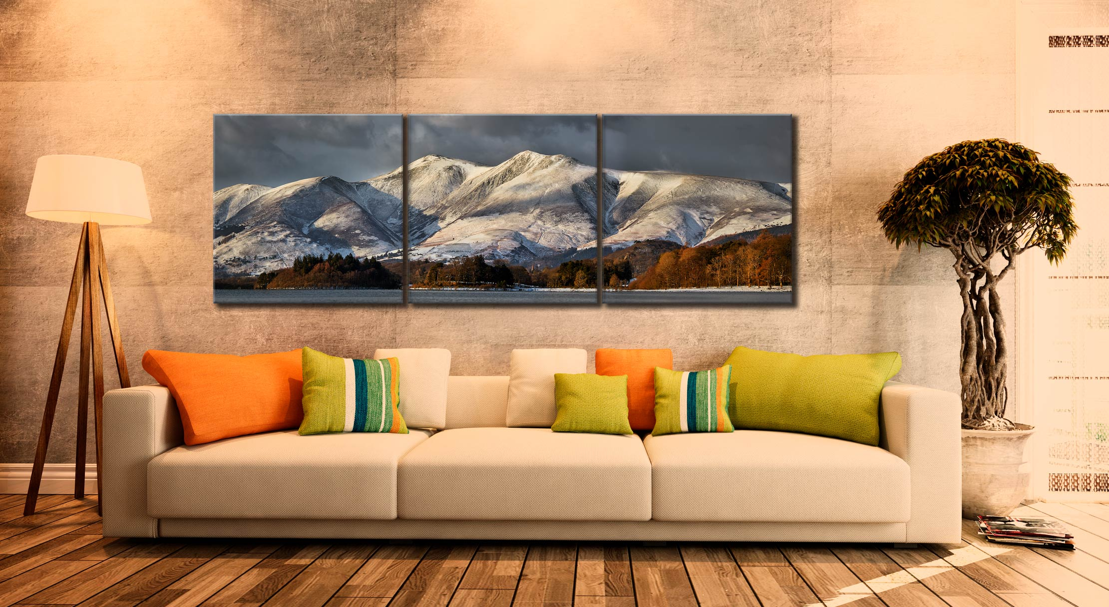 Skiddaw Winter Panorama - 3 Panel Canvas on Wall