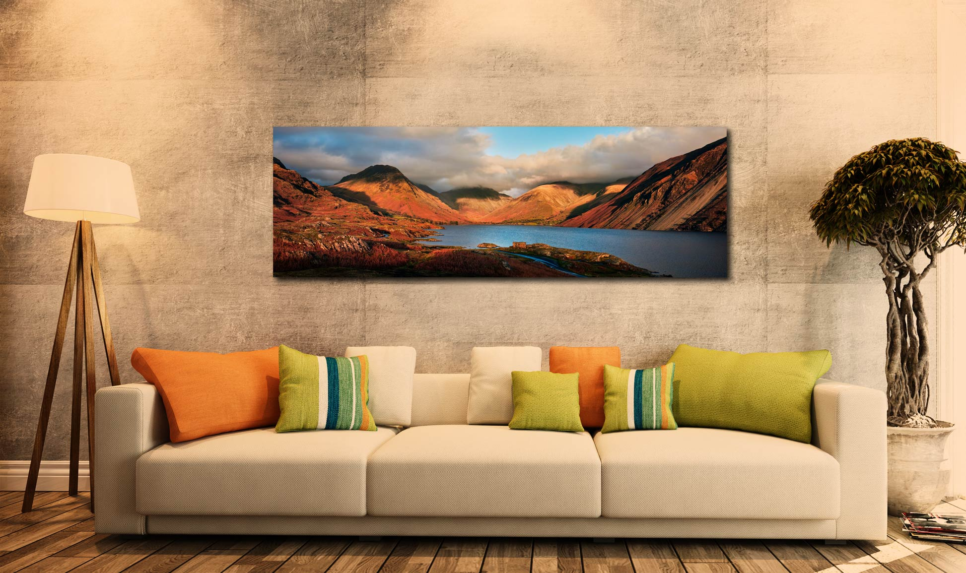 Wast Water Late Sun - Canvas Print on Wall