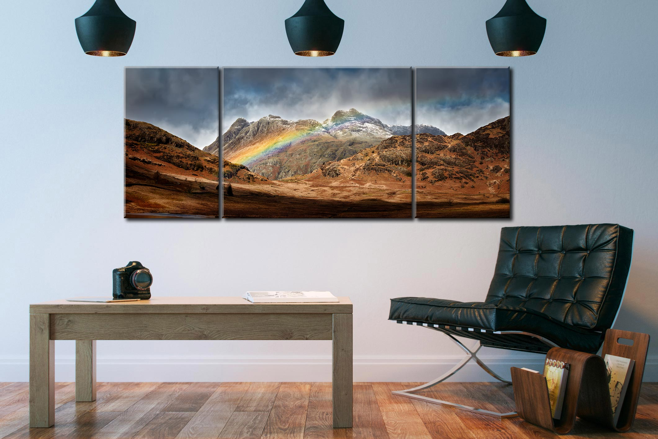 Langdale Pikes Rainbow - 3 Panel Canvas on Wall