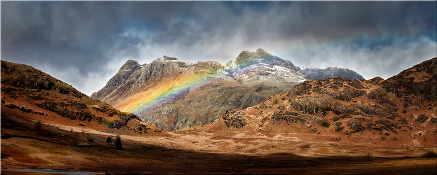 Langdale Pikes Rainbow - Canvas Print