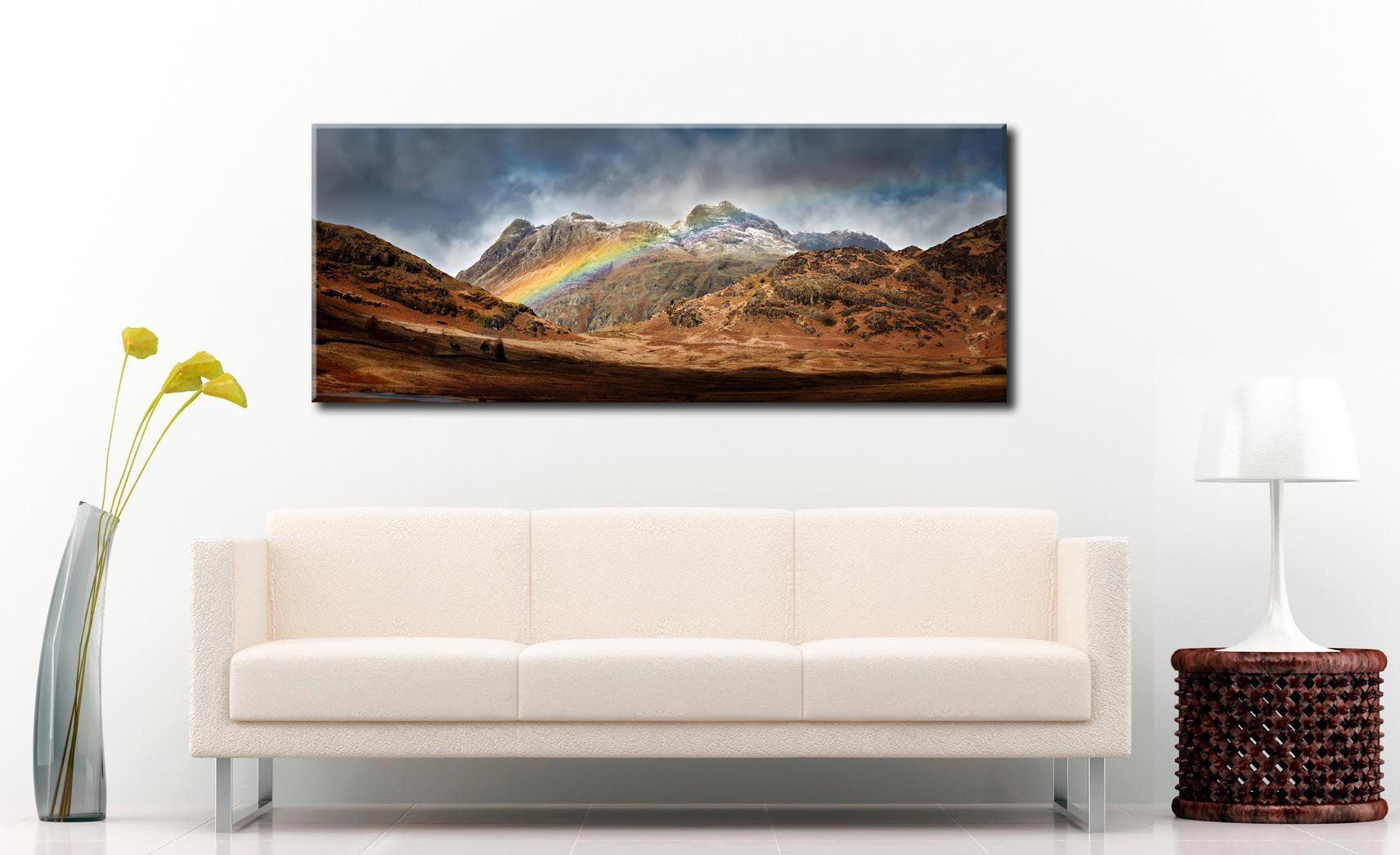 Langdale Pikes Rainbow - Canvas Print on Wall