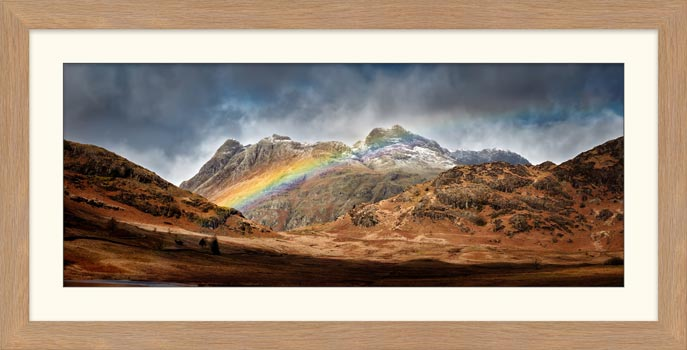 Langdale Pikes Rainbow - Framed Print with Mount