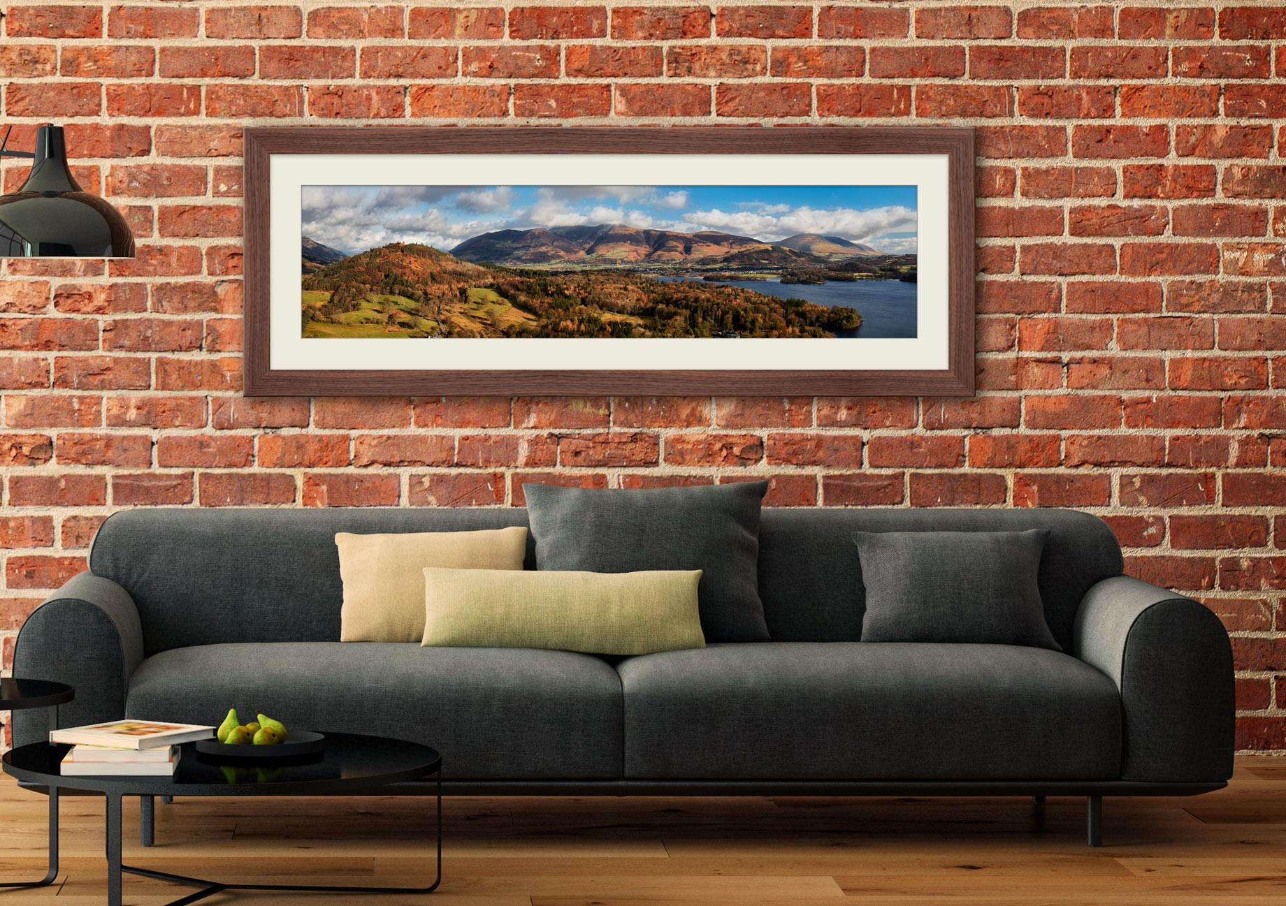 Keswick and Skiddaw Panorama - Framed Print with Mount on Wall