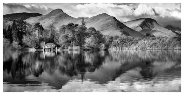 Derwent Boathouse and Cat Bells - Black White Print