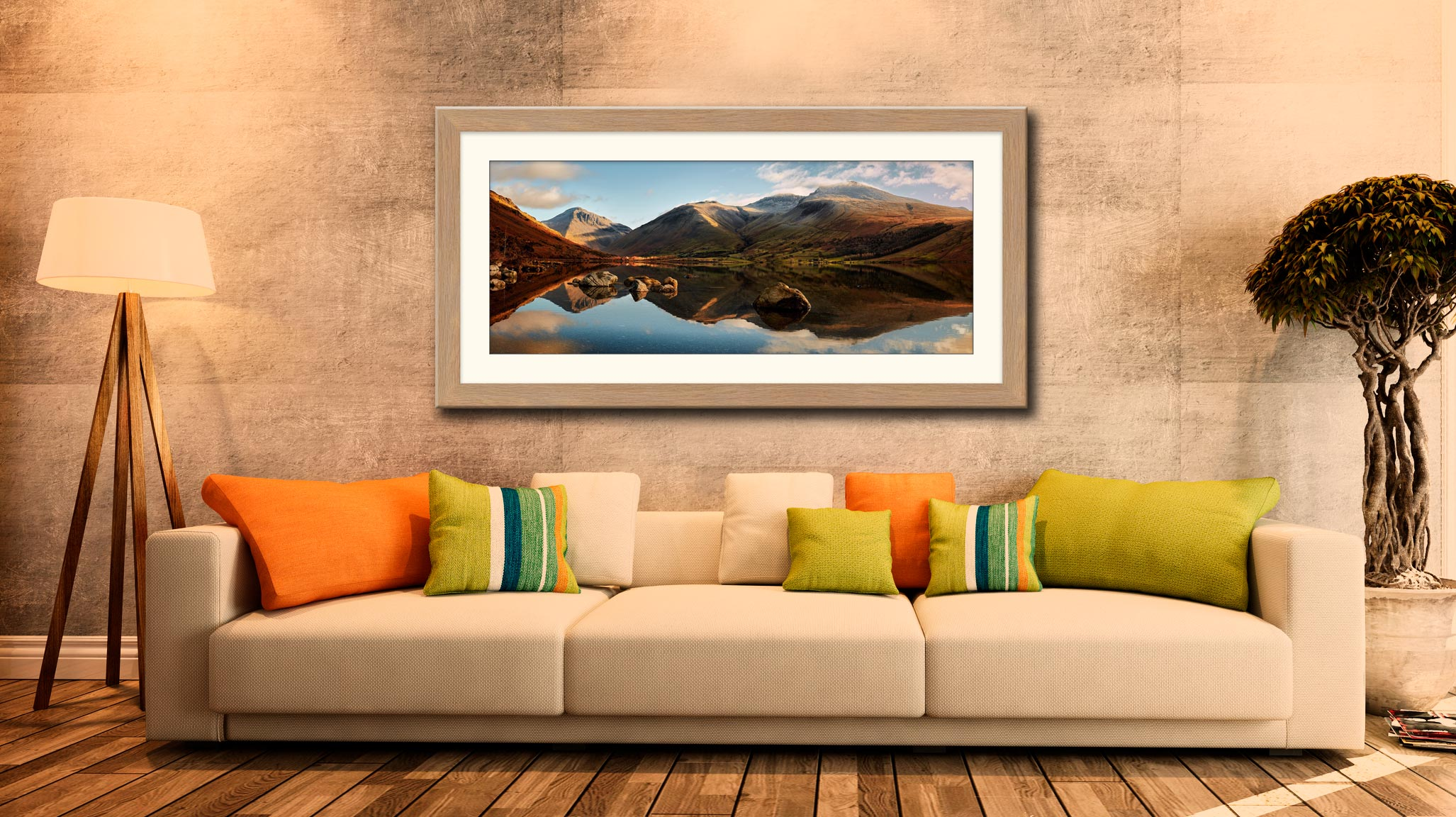 Morning Light on Scafell Pike - Framed Print with Mount on Wall