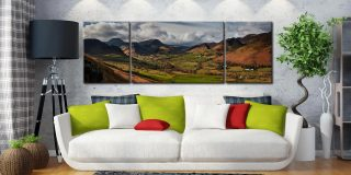 Newlands Valley Spring Sunshine - 3 Panel Wide Mid Canvas on Wall