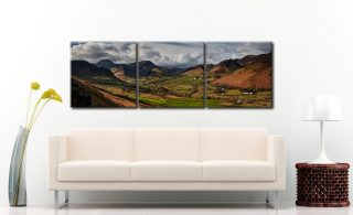 Newlands Valley Spring Sunshine - 3 Panel Canvas on Wall