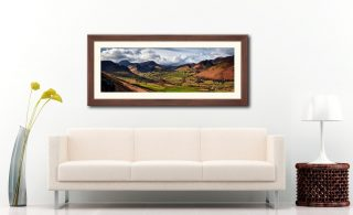 Newlands Valley Spring Sunshine - Framed Print with Mount on Wall