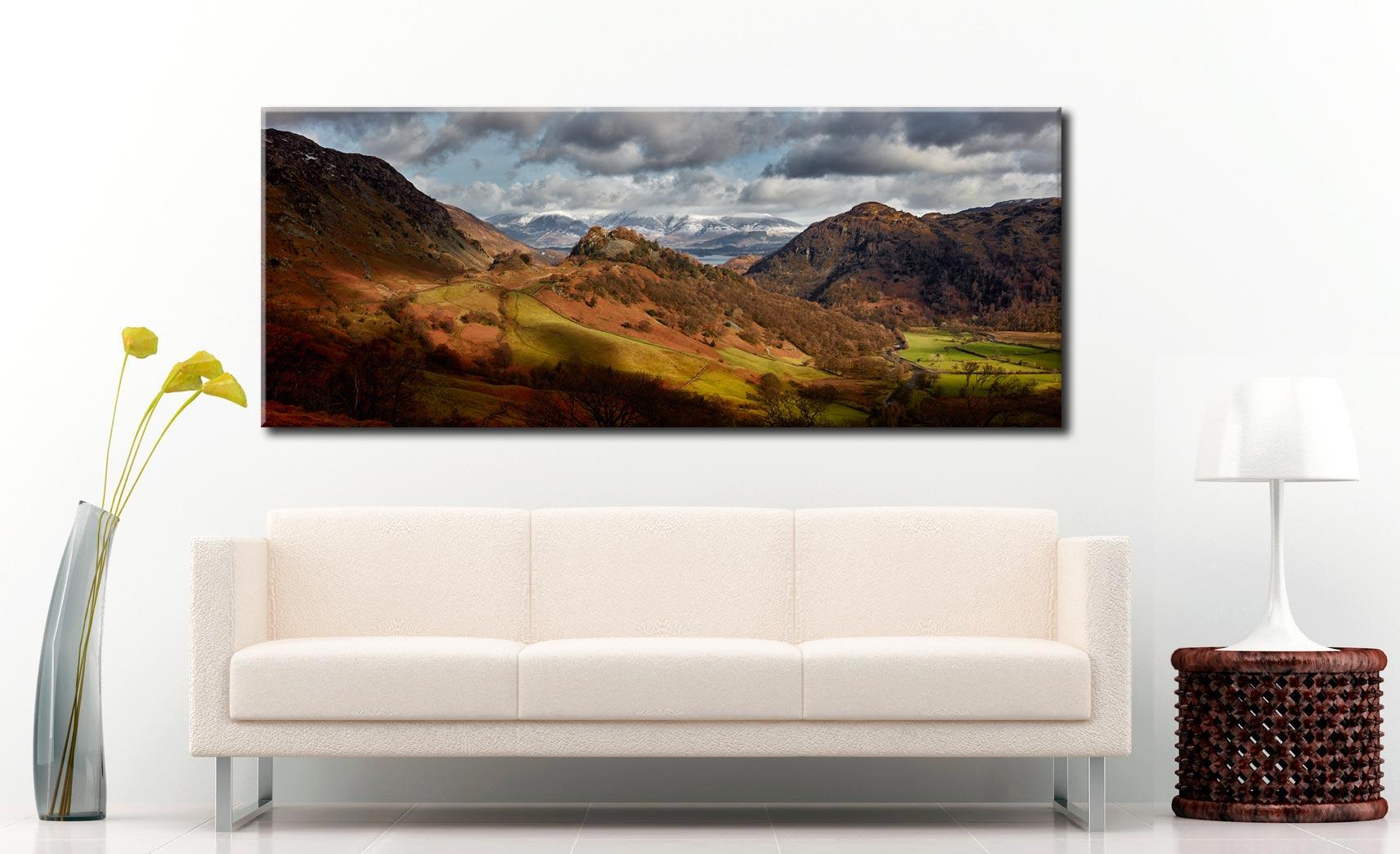 Castle Crag Winter Sunshine - Canvas Print on Wall