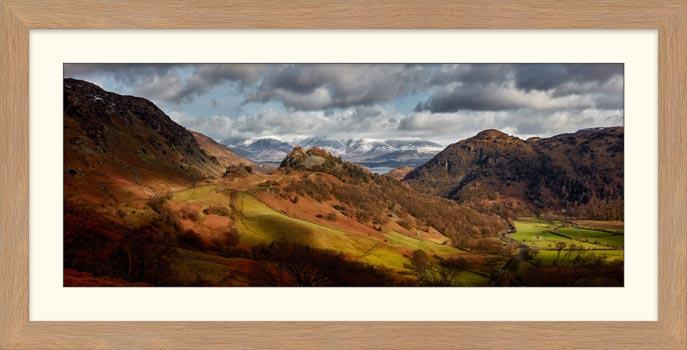 Castle Crag Winter Sunshine - Framed Print with Mount