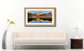 Blea Tarn and Langdale Pikes - Framed Print with Mount on Wall