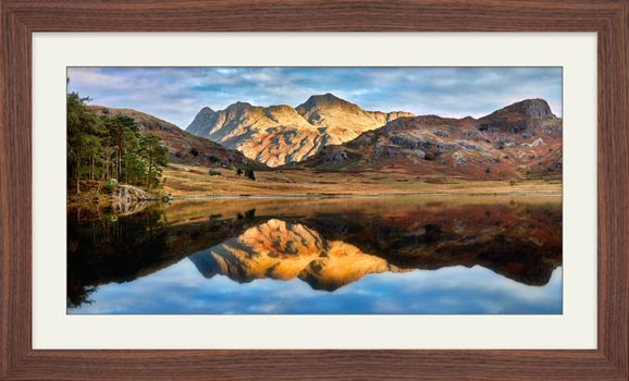 Blea Tarn and Langdale Pikes - Framed Print with Mount