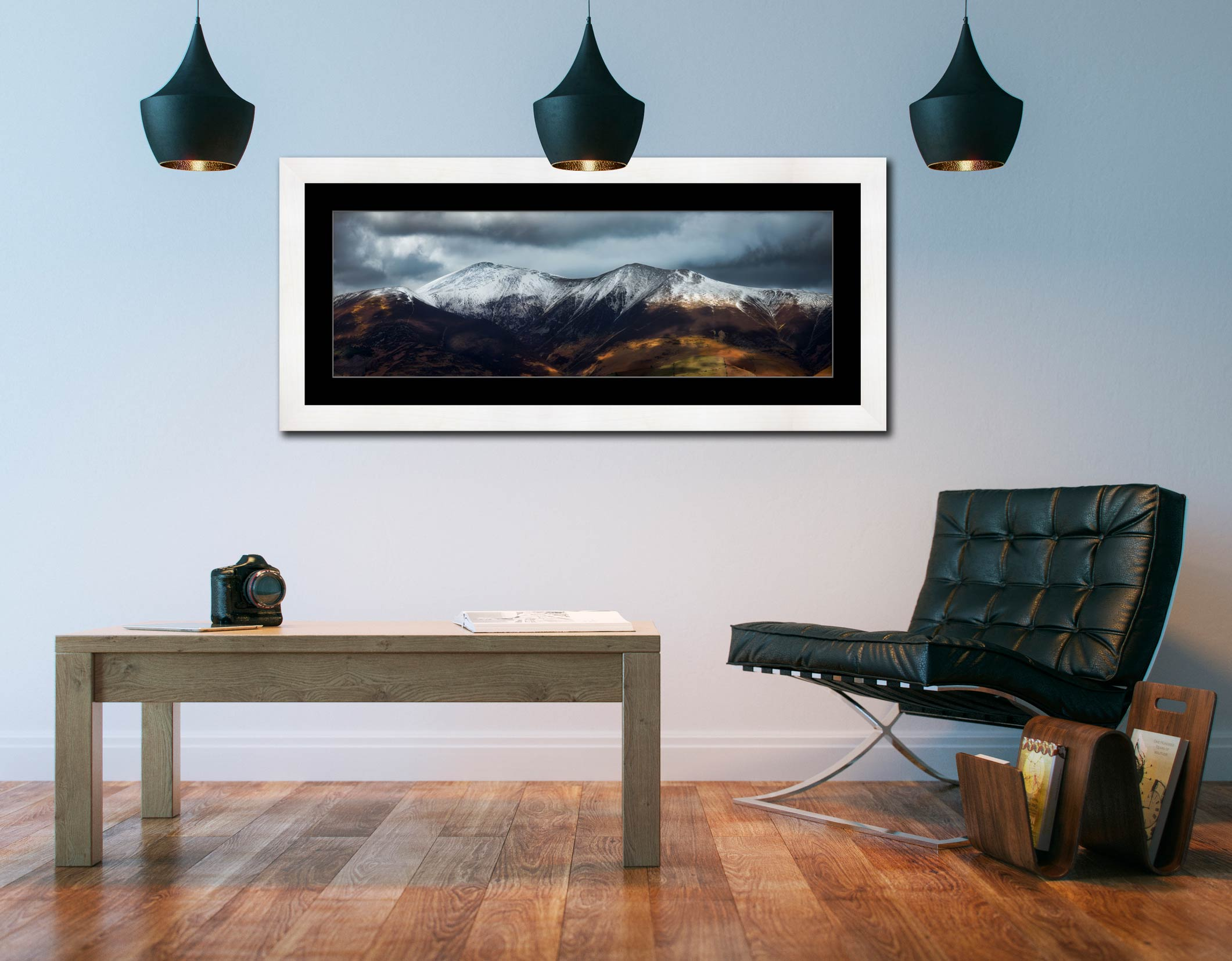Snow Capped Skiddaw - Framed Print with Mount on Wall