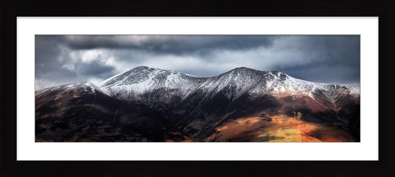 Snow Capped Skiddaw - Framed Print with Mount