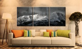 Snow Covered Wetherlam - 3 Panel Canvas on Wall