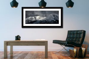 Snow Covered Wetherlam - Framed Print with Mount on Wall