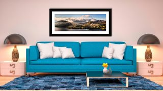 Ullswater Clouds Panorama - Framed Print with Mount on Wall