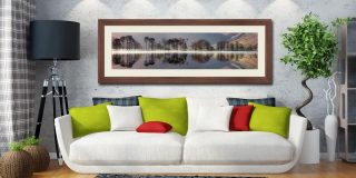 Buttermere Trees Silhouette - Framed Print with Mount on Wall