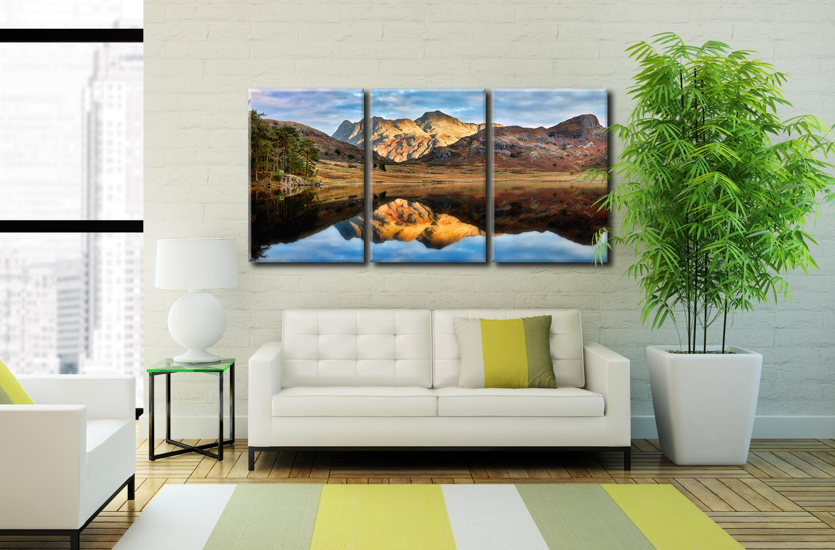 Blea Tarn and Langdale Pikes - 3 Panel Canvas on Wall