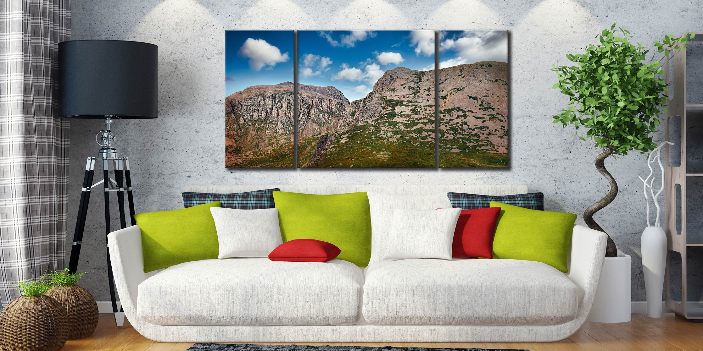 Sca Fell Pikes - 3 Panel Wide Centre Canvas on Wall