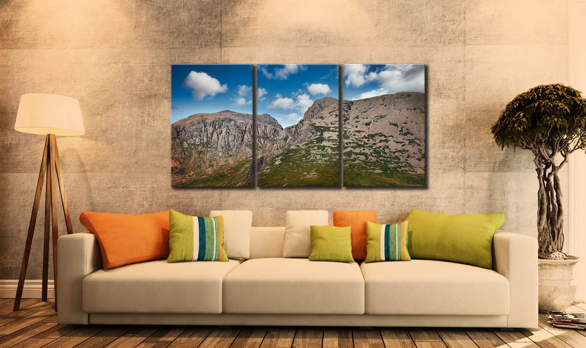 Sca Fell Pikes - 3 Panel Canvas on Wall