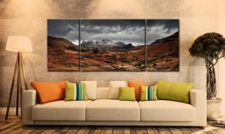 The Langdale Pikes Winter Panorama - 3 Panel Wide Mid Canvas on Wall