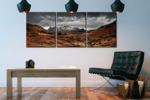 The Langdale Pikes Winter Panorama - 3 Panel Canvas on Wall