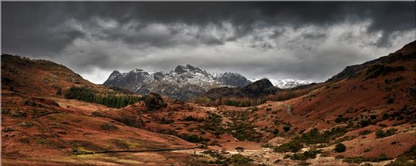 The Langdale Pikes Winter Panorama - Canvas Print