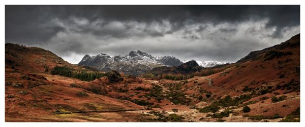 The Langdale Pikes Winter Panorama - Lake District Print