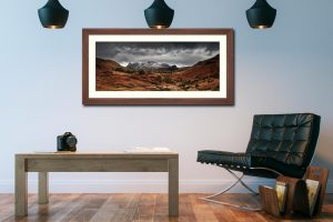 The Langdale Pikes Winter Panorama - Framed Print with Mount on Wall
