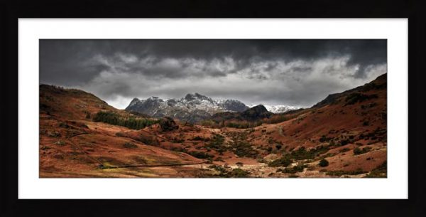 The Langdale Pikes Winter Panorama - Framed Print with Mount