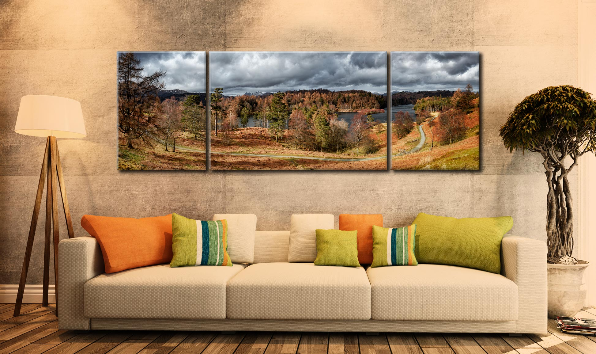 Tarn Hows Winter Colours - 3 Panel Wide Mid Canvas on Wall