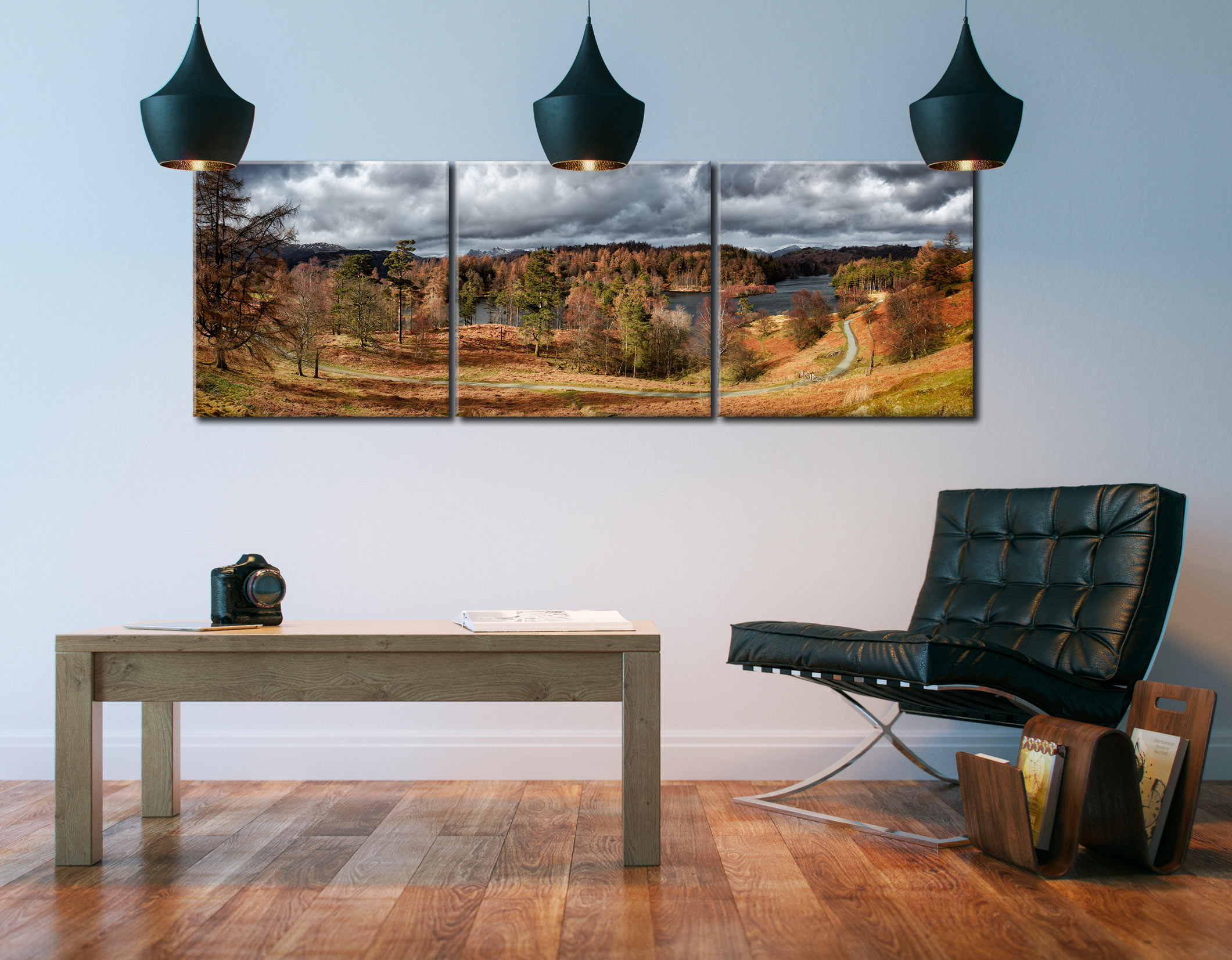 Tarn Hows Winter Colours - 3 Panel Canvas on Wall