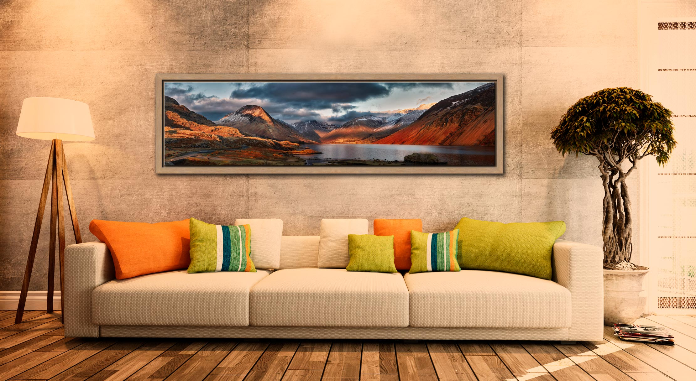 Winter Sun Over Wast Water - Oak floater frame with acrylic glazing on Wall