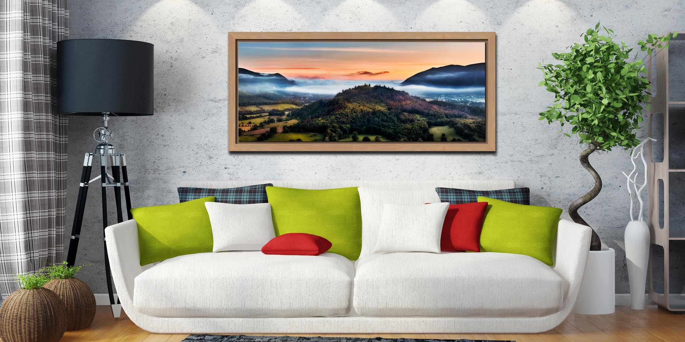 Dawn Mists Over Bassenthwaite Lake - Oak floater frame with acrylic glazing on Wall