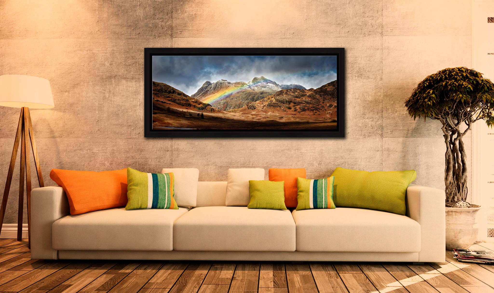 Langdale Pikes Rainbow - Black oak floater frame with acrylic glazing on Wall
