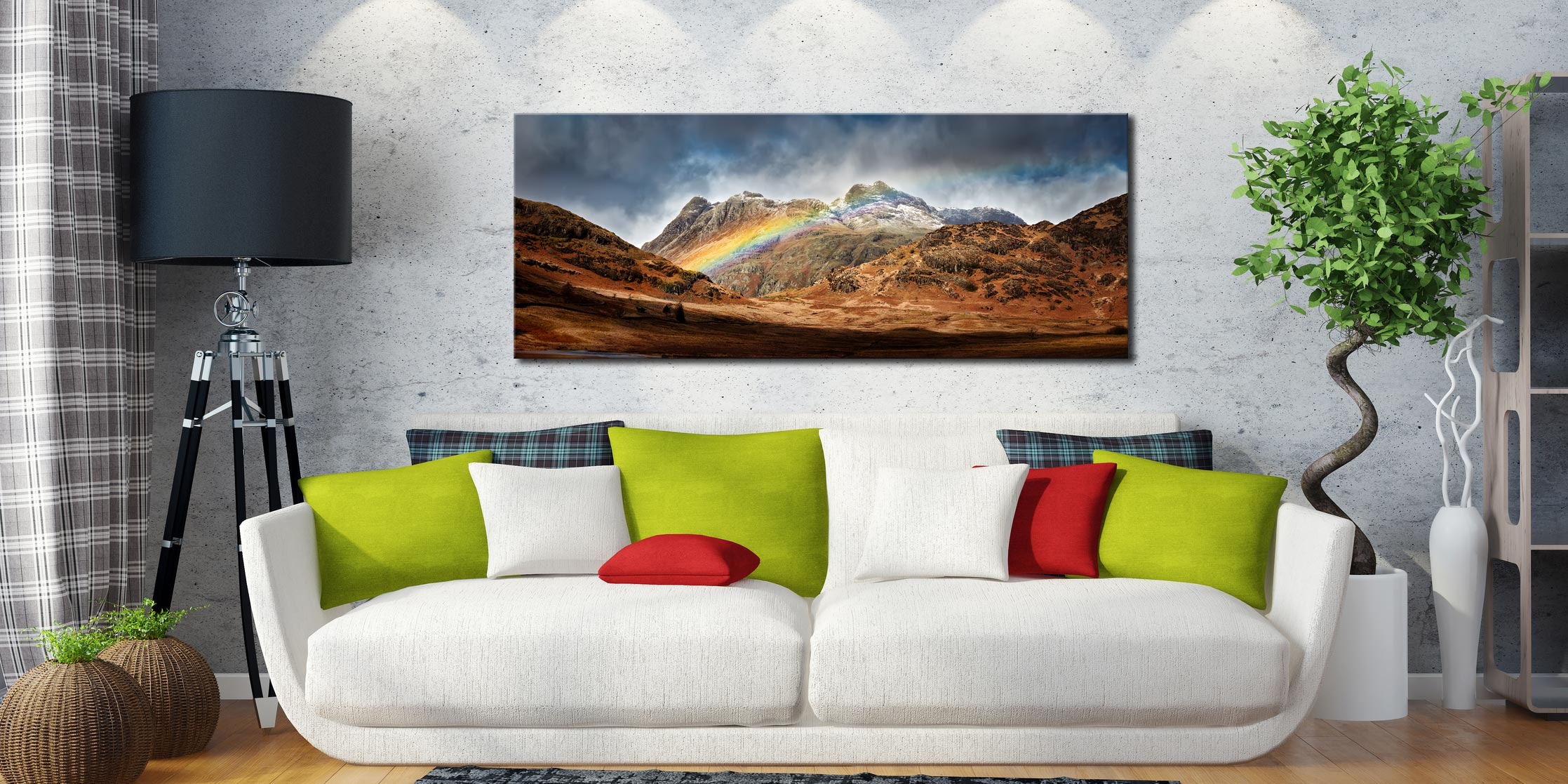 Langdale Pikes Rainbow - Print Aluminium Backing With Acrylic Glazing on Wall