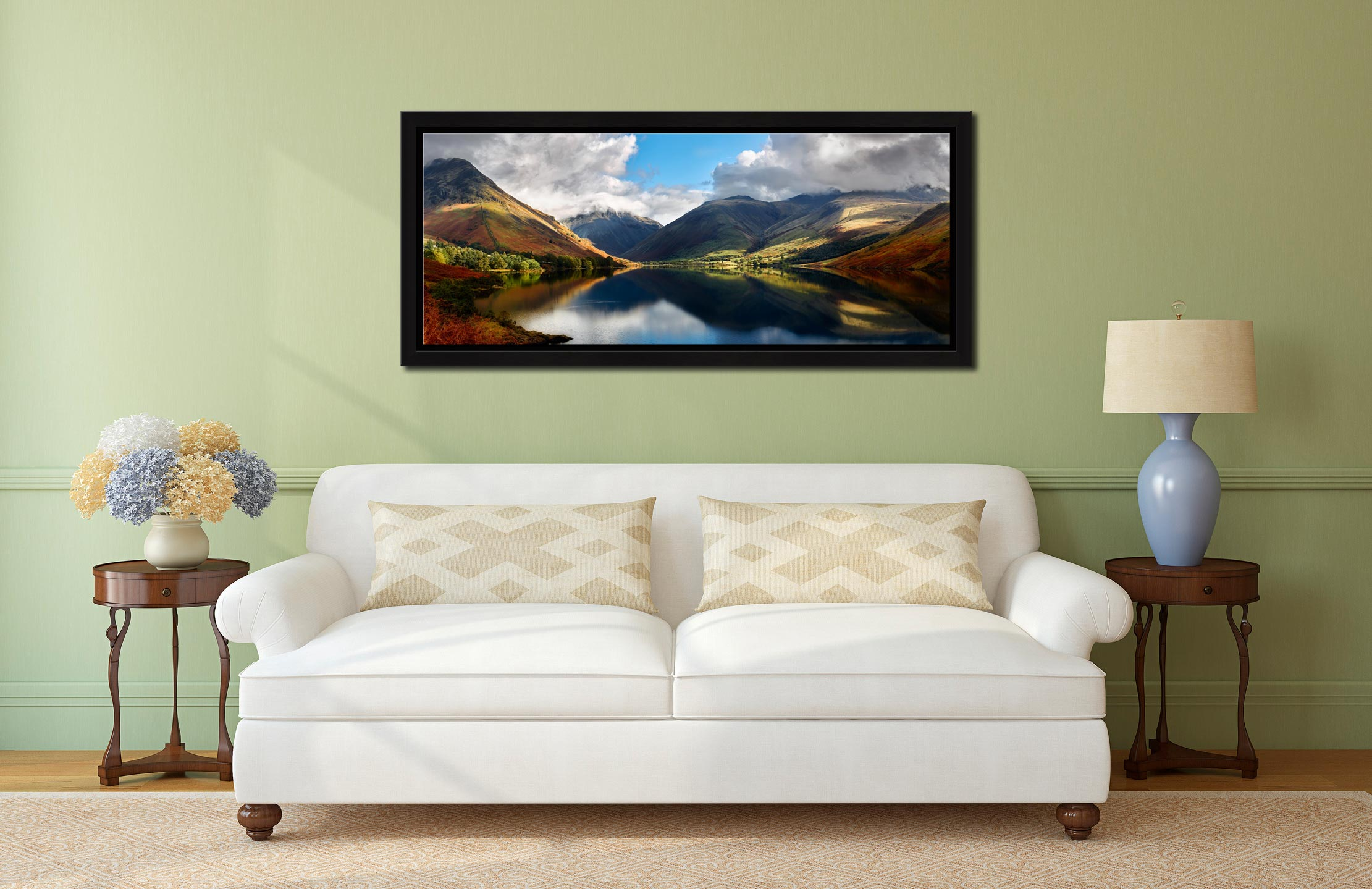 Wasdale Head Panorama - Black oak floater frame with acrylic glazing on Wall