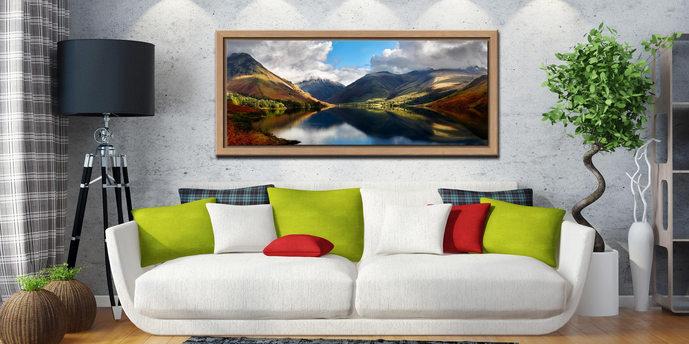 Wasdale Head Panorama - Oak floater frame with acrylic glazing on Wall